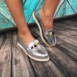 Pantofi casual Cristina Argintiu